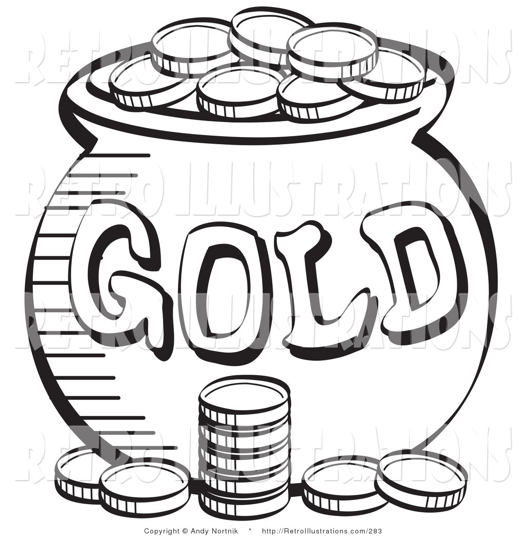 retro illustration of a black and white coloring page of a stack of coins near a