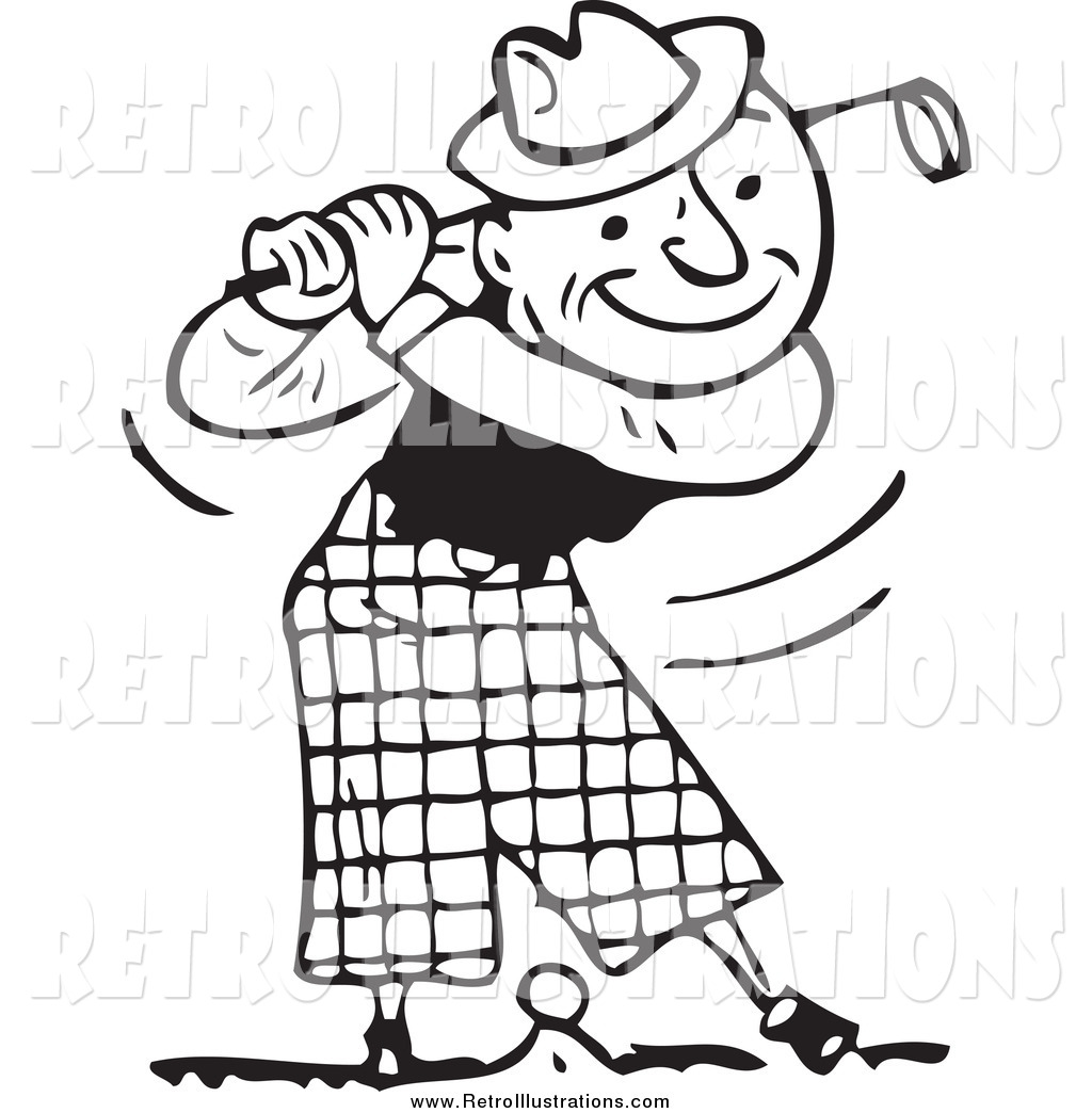 Retro Illustration of a Black and White Happy Man Swinging ...