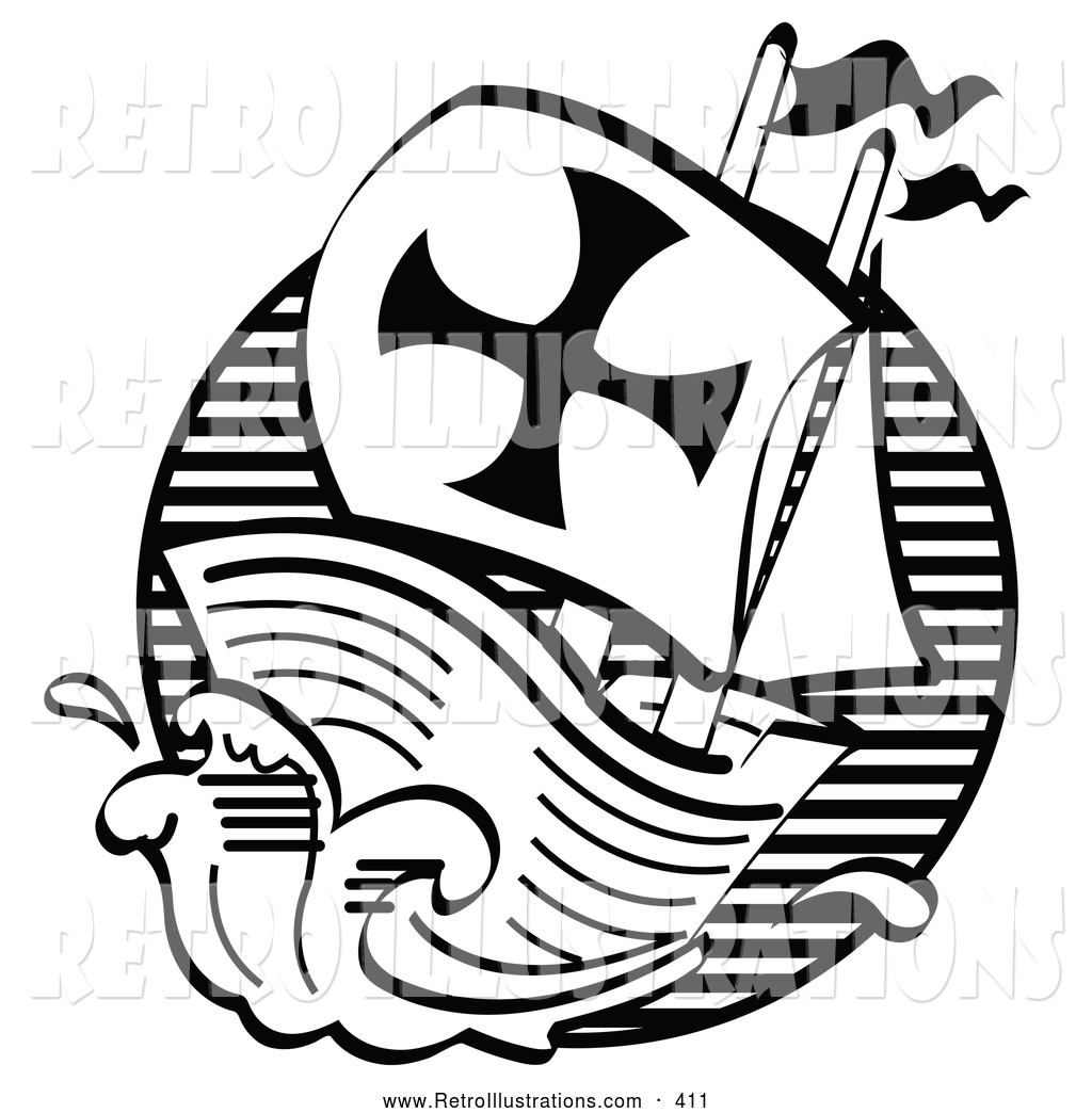 Retro Illustration of a Black and White Mayflower Ship Transporting ...