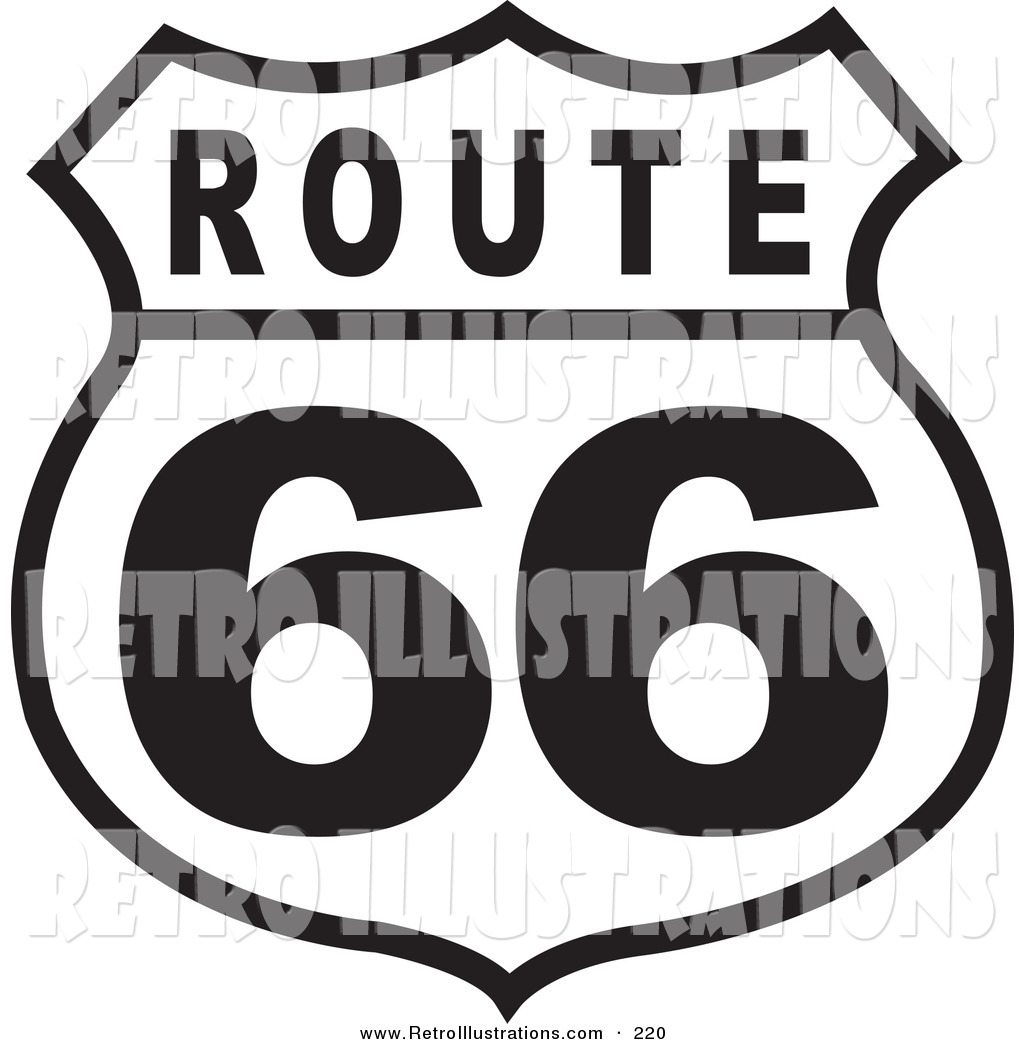 Royalty Free Black And White Stock Retro Designs Route 66 Coloring Pages