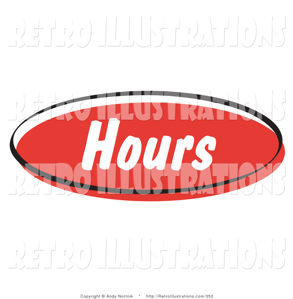 Hours Of Operation Clip Art : Retro illustration of a red hours internet website icon by