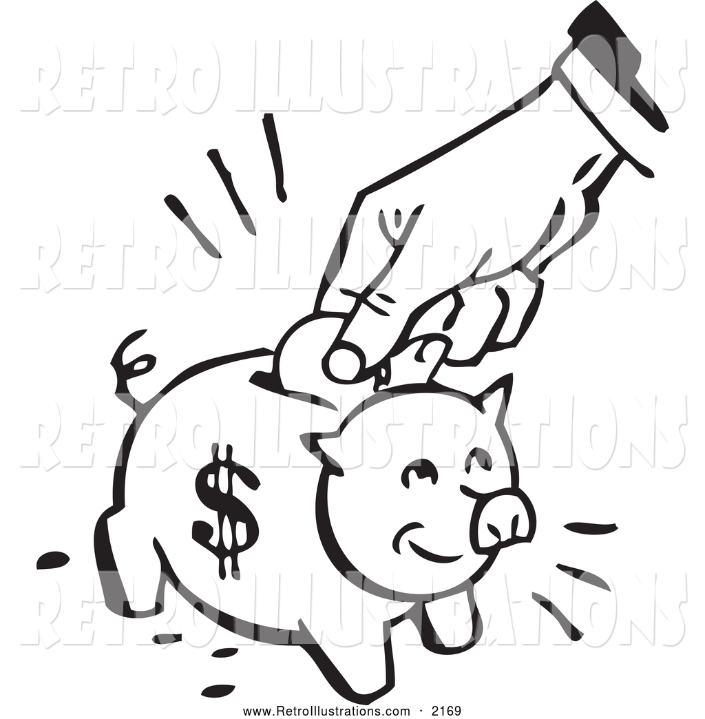 retro illustration of a retro black and white hand depositing a