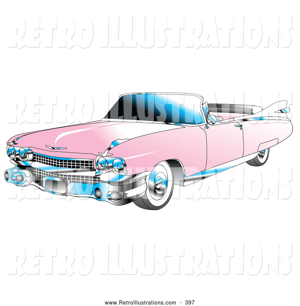 Retro Illustration Of A Retro Pink Convertible 1959 Cadillac Car With Chrome Accents And The Top Down By Andy Nortnik 397