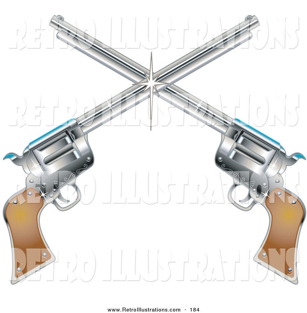 Two Shiny Pistols Forming A Cross Over White Background