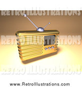 Retro Illustration of a 3d Gold Retro Radio by Julos