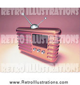 Retro Illustration of a 3d Retro Metal Radio by Julos