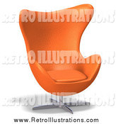 Retro Illustration of a 3d Retro Orange Egg Chair by Ralf61