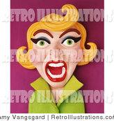Retro Illustration of a 3d Screaming Retro Blond Woman in Green by Amy Vangsgard