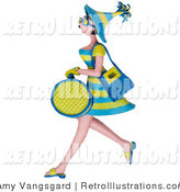 Retro Illustration of a 3d Woman Carrying Shopping Bags by Amy Vangsgard