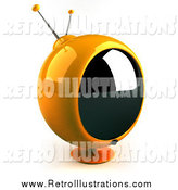 Retro Illustration of a 3d Yellow Round Retro Tv by Julos