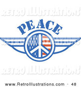 Retro Illustration of a American Peace Symbol with Stars and Stripes and Wings on the Sides by Andy Nortnik