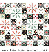 Retro Illustration of a Background of Colorful Retro Patchwork with Flowers, Diamonds and Circle Patterns, on White by Steve Klinkel