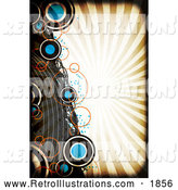 Retro Illustration of a Background of Grungy Circles and Curves over Rays with a Black Grunge Border by Arena Creative