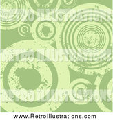 Retro Illustration of a Background of Grungy Distressed Green Circles by KJ Pargeter