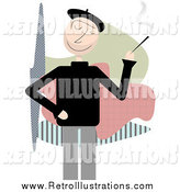 Retro Illustration of a Beatnik Man Smoking by Mheld