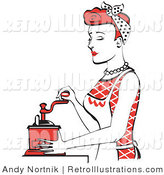 Retro Illustration of a Beautiful Red Haired Housewife or Maid Woman Operating a Manual Coffee Grinder by Andy Nortnik