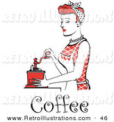 Retro Illustration of a Beautiful Red Haired Housewife or Maid Woman Using an Antique Coffee Grinder, with Text by Andy Nortnik