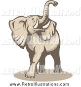 Retro Illustration of a Beige Elephant Lifting His Trunk by Patrimonio