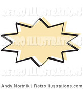 June 29th, 2012: Retro Illustration of a Beige Starburst with a Black Outline by Andy Nortnik
