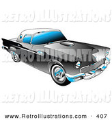 Retro Illustration of a Black 1955 Ford Thunderbird Car with a White Removable Fiberglass Top and Chrome Accents Driving Right by Andy Nortnik