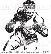 Retro Illustration of a Black and White Boxer by BestVector