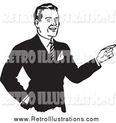 Retro Illustration of a Black and White Businessman Pointing by BestVector