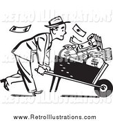 March 23rd, 2014: Retro Illustration of a Black and White Businessman Pushing a Wheelbarrow Full of Cash by BestVector
