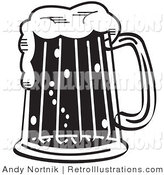 Retro Illustration of a Black and White Foaming Mug of Beer in a Bar by Andy Nortnik