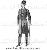 Retro Illustration of a Black and White Gentleman in a Suit by BestVector