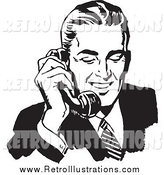 Retro Illustration of a Black and White Handsome Businessman Talking on a Phone by BestVector