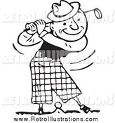 Retro Illustration of a Black and White Happy Man Swinging a Golf Club by BestVector