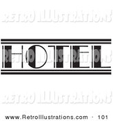 Retro Illustration of a Black and White Hotel Sign on White by Andy Nortnik