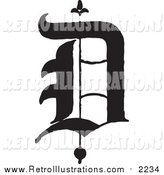 Retro Illustration of a Black and White Old English Abc Letter D by BestVector