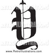 Retro Illustration of a Black and White Old English Letter Y by BestVector