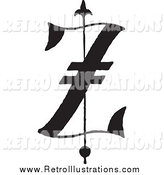 Retro Illustration of a Black and White Old English Letter Z by BestVector