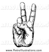 January 6th, 2015: Retro Illustration of a Black and White Peace Hand Gesturing by AtStockIllustration