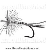Retro Illustration of a Black and White Retro Fly Fishing Hook with Feathers by BestVector