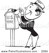 Retro Illustration of a Black and White Retro Man Inserting a Letter in a Mail Box by BestVector
