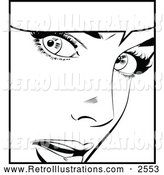 December 13th, 2013: Retro Illustration of a Black and White Retro Pop Art Woman and Word Balloon by Brushingup