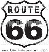 Retro Illustration of a Black and White Route 66 Roadside Highway Sign by Andy Nortnik