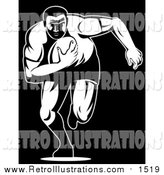 Retro Illustration of a Black and White Rugby Football Player by Patrimonio