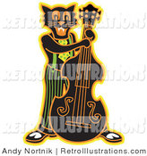 Retro Illustration of a Black Cat Playing a Bass Fiddle in a Band on Halloween by Andy Nortnik