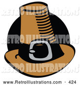 Retro Illustration of a Black Circle Behind a Pilgrim Hat by Andy Nortnik