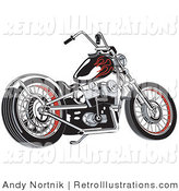 Retro Illustration of a Black Motorcycle with Red Flame Paint Accents on a White Background by Andy Nortnik