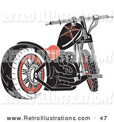 Retro Illustration of a Black Motorcycle with Spider Web Accents on White by Andy Nortnik