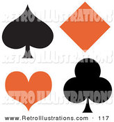Retro Illustration of a Black Spade and Club with an Orange Diamond and Heart over White by Andy Nortnik
