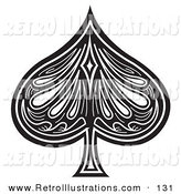 Retro Illustration of a Black Spade on a Playing Card on White by Andy Nortnik