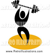 Retro Illustration of a Black Weight Lifter with a Barbell by Patrimonio