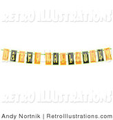 July 16th, 2012: Retro Illustration of a Black, Yellow and Orange Happy Halloween Banner on Solid White by Andy Nortnik