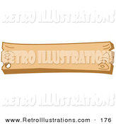 Retro Illustration of a Blank Wooden Western Style Sign with a Nail Hole on White by Andy Nortnik